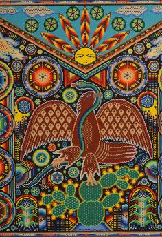 Huichol bead art: Mexica eagle holding a snake in its beak and perched on a nopal cactus. From a work exhibited at the Museo de Culturas Populares in Coyoacan, Mexico City