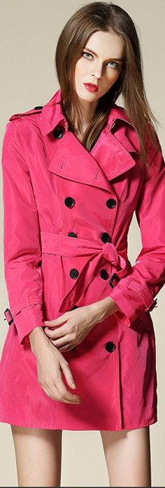 Hot Pink Double Breasted Trenchcoat