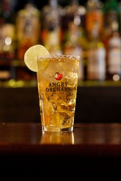 Orcha-rita  Ingredients:  1 1/2 oz. tequila  1/2 oz. triple sec  1 bottle Angry Orchard Crisp Apple Hard Cider  Lime wheel to garnish  Pour tequila and triple sec into a shaker, then fill the remainder with cider. Shake well and serve over ice in a salt-rimmed glass; add lime for garnish.