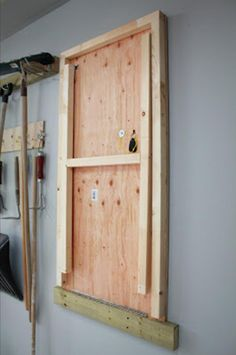 Fold-up Garage Work Table (could also work as a fold up garden table in a greenhouse/shed or a fold up cheese table in a milking barn). Fold-up Garage Work Table… Garage Shed, Garage House, Garage Workshop, Workshop Ideas, Garage Plans, Car Garage, Dream Garage, Workshop Layout, Wood Workshop