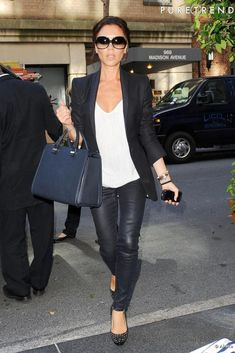 victoria beckham - leather pants, black, white & navy
