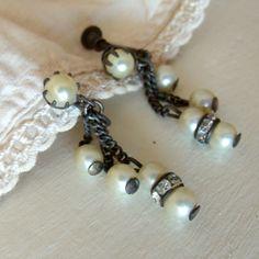 Vintage Dangle Earrings Pearls Rhinestones by SweetRepeatVintage, $8.95