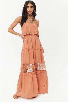 Strapless Crochet-Trim Maxi Dress beautiful summer option for family Photos