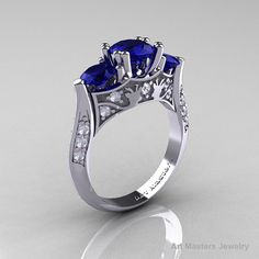 Nature Inspired 14K White Gold Three Stone Blue by artmasters, $1499.00