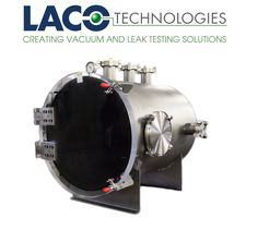 "Horizontal Cylindrical Vacuum Chamber for #Physics Research. 24"" OD x 30"" Long. Features a 304 stainless steel body and 2"" thick clear acrylic double acting hinged door. Vacuum Rating: ATM to 10^-3 torr. #vacuumchamber http://www.lacotech.com/vacuumchambers #vacuumchamber"