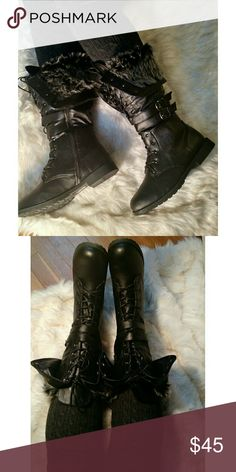 BLACK FAUX FUR BOOTS Faux leather material. Faux fur detail. Fits true to size. PRICE IS FIRM. Shoes Lace Up Boots