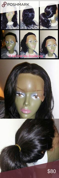 """14"""" Brazilian lace front body wave wig New, unused without tags 14"""" Brazilian body lace front, hand tied wig. May be further customized pluck or bleach knots, machine stitched fitted cap wigs by Asia Accessories Hair Accessories"""
