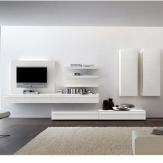 Tv wall storage home tv storage, wall mounted tv, tv furnitu High Gloss Tv Unit, Modern Tv Units, Tv Unit Design, Living Room Tv, Wall Storage, Record Storage, Home Furniture, The Unit, Interior Design