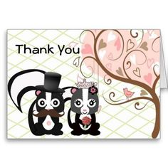 Country Skunk Wedding Thank You Card