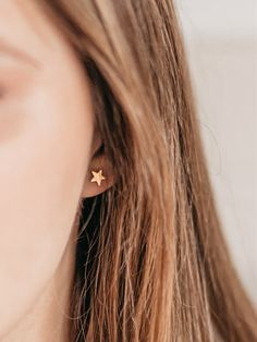 Tiny Star Stud Earrings, Gold Stud earrings, Celestial earrings, mini star earrings, Gold Star Studs, Tiny Earrings, Star Earrings by AnyaCollection on Etsy Tiny Earrings, Star Earrings, Gold Earrings, Cartilage Earrings, Dainty Gold Jewelry, Tiny Star, Gold Stars, Elephant Necklace, Jewelry Gifts