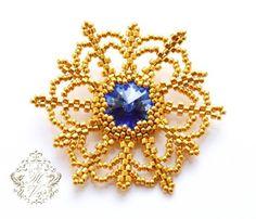 Free tutorial for beautiful beaded snowflake with rivoli Swarovski. U can use it like ornament or pendant .   U need: rivoli 14 mm delica 11/0 seed beads 15/0   At first bezel rivoli with 36 seed bead