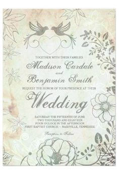 Vintage Love Birds Floral Wedding Invitations.  40% OFF when you order 100+ Invites.  #wedding