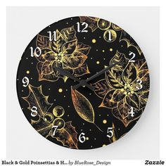 Black & Gold Poinsettias & Holly Large Clock Large Clock, Christmas Items, Wall Clocks, Christmas Card Holders, Poinsettia, Keep It Cleaner, Colorful Backgrounds, Black Gold, Party Supplies