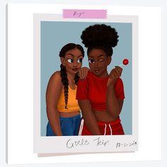 Girls' Trip Canvas Wall Art by Princess Karibo - Black Love Art, Black Girl Art, Black Girls Rock, Black Is Beautiful, Black Art Painting, Black Artwork, Drawings Of Black Girls, Girl Drawings, Art Noir