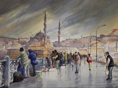 HASAN KIRDI  Watercolor - suluboya Turkish Art, Watercolor Art, Original Paintings, Turkey, Watercolors, Scenery, Watercolor Paintings, Frames, Istanbul