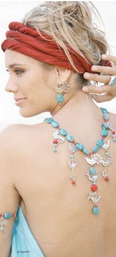 Bohemian Turquoise & Coral Jewelry LOVE this look. Boho Fashion Summer, New Fashion, Bohemian Fashion, Trendy Fashion, Boho Hippie, Boho Gypsy, Happy Hippie, Hippie Chick, Gypsy Style