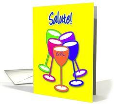 Custom Name Italian Salute Birthday Colourful Toasting Glasses card