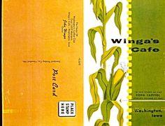 Winga's Café, Washington IA, 1950s Postcard Menu