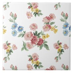 Girly Pink, Yellow and Blue Floral Customizable Ceramic Tile