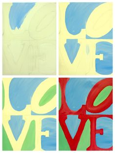 "Evolution of ""LOVE"" painted @ Painting with a Twist Wayne, PA."