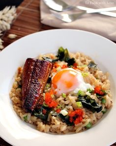 Oh my goodness.. This looks ah-mazing! Japanese-style Risotto with Roasted Eel