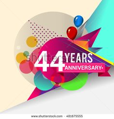 44 Years Anniversary logo with balloon and colorful geometric background, vector design template elements for your birthday celebration.