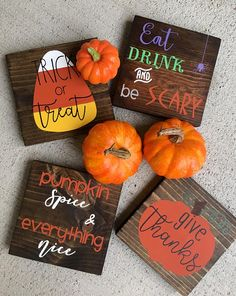Add a rustic touch with these cute mini Halloween signs. These mini Halloween signs can be purchased individually or in sets. The sign can stand up on its own. **If purchasing a set, please include which signs you would like in the notes to seller section Halloween Signs, Fall Halloween, Halloween Crafts, Rustic Halloween, Halloween Table, Halloween Books, Halloween Stuff, Vintage Halloween, Halloween Makeup