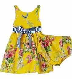NWT Ralph Lauren Baby Girls Sateen Floral Dress and Panty Set Size 3 Months #RalphLauren #DressyEverydayHolidayPageantWedding