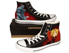 Fullmetal Alchemist #Anime Black Shoes Custom Black Canvas Shoes