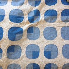 Amazing chambray and French blue graphic dot appliqué quilt. This baby is shredded but most of the blue dots are intact and ready to find their way into a new life.