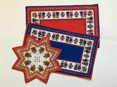 Vintage Kolf Austrian Folk Art Placemats Doily Blue Red Boy Girl Table Linens #FolkArt