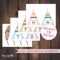 Teepee banner teepee bunting wild one party by PaperSparkleDesigns