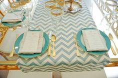 Teal, gold and chevron