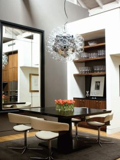 contemporary dining room by Joel Kelly Design. love the open shelving, square table and lighting Decor, Modern Dining, Room Design, Loft Dining Room, House Interior, Dining Room Contemporary, Dining Design, Dining Room Table Centerpieces, Contemporary Dining Room