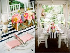 Kara + Jason's Preppy Summer Wedding with navy stripes, coral napkins and stunning peonie and garden rose centerpieces.   Photo by Jenna Henderson     Vote for your favorite tablescape in our Best of 2014 contest at CJ's Off the Square, a garden wedding venue just south of Nashville, TN  Sponsored by Batch Nashville.  #cjsbestof2014  #batchweddings #stripes