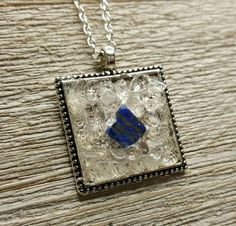Lapis Lazuli & Clear Quartz Psychic Protection Necklace Healing Reiki Charged High Vibration Metaphysical Energy Healing Spiritual