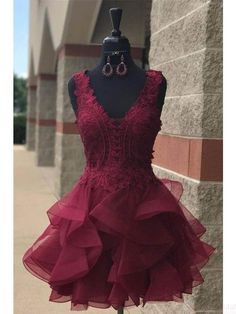 Organza Lace Homecoming Dresses Short Party Dresses (ED2016)