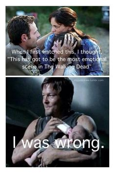 That's the part where I fell in love with Daryl! then part where he was holding Judith