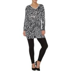 George UK Women's Animal Print Long Sleeve Dress, Size: 10, Black