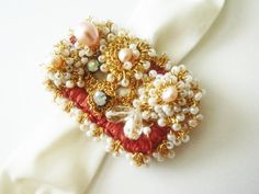 Bridal CuffGold Crochet Lace Wedding Bracelet Sultana by sukran. $74.00, via Etsy.