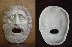 ANCIENT GREEK THEATRICAL MASK OF TRAGEDY - UNIQUE, RARE