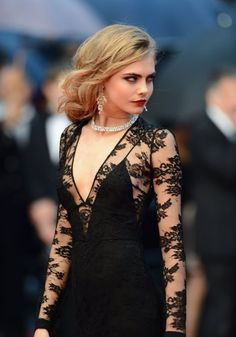 Cara Delevingne on the red carpet at the Cannes Film Festival, May 15, 2013, photographed by Ian Gavan/Wireimage.