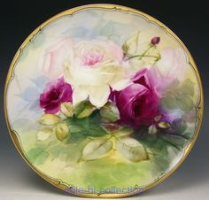 BEAUTIFUL LIMOGES HAND PAINTED ROSES CABINET PLATE ARTIST GEORGE LEACH