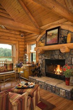 Lounge room living in a log home