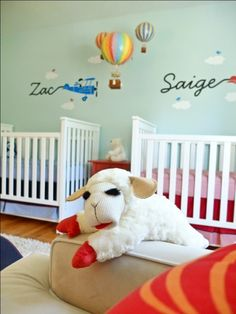 It's a Gender Neutral Twins Nursery! Decorating a baby nursery for a twin boy and girl can be tricky. This lovely nursery has an Up Up & Away theme!