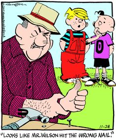 """Hank Ketcham's classic """"Dennis the Menace"""" chronicles the pranks of the mischievous title character. Funny Cartoons, Funny Comics, Funny Jokes, Hilarious, Cartoon Pics, Cartoon Characters, Cartoon Art, Spring Jokes, Dennis The Menace Cartoon"""