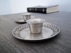 Vintage Jorgen Jensen Pewter Candlestick Holders - danish modern. Rustic industrial or primitive decor style