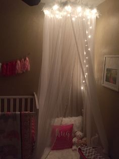 Canopy with lights for baby girls nursery DIY & no sew DIY: Little Girls Bed Canopy with Lights I know a Special ...