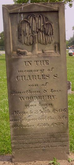 Headstone of Charles S. Woodbury, d. 1838, OH