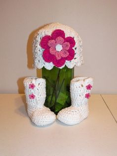 Crocheted Cotton Hat and Booties for 0 to 3 by DesignsbyDecember, $23.00.  I am soooo getting these!!